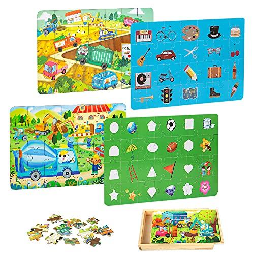 VATOS Puzzle in Legno da 4 Pezzi per Bambini di età Compresa tra 3 4 5 6 7 Giocattoli educativi per l'apprendimento prescolare con Scatola di Legno 112PCS per Ragazzi e Ragazze