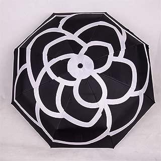 AUWANGAOFEI Creative Rose Folding Umbrella Folded Sunshade Umbrella UV Sunscreen (Color : Black, Size : 8K)
