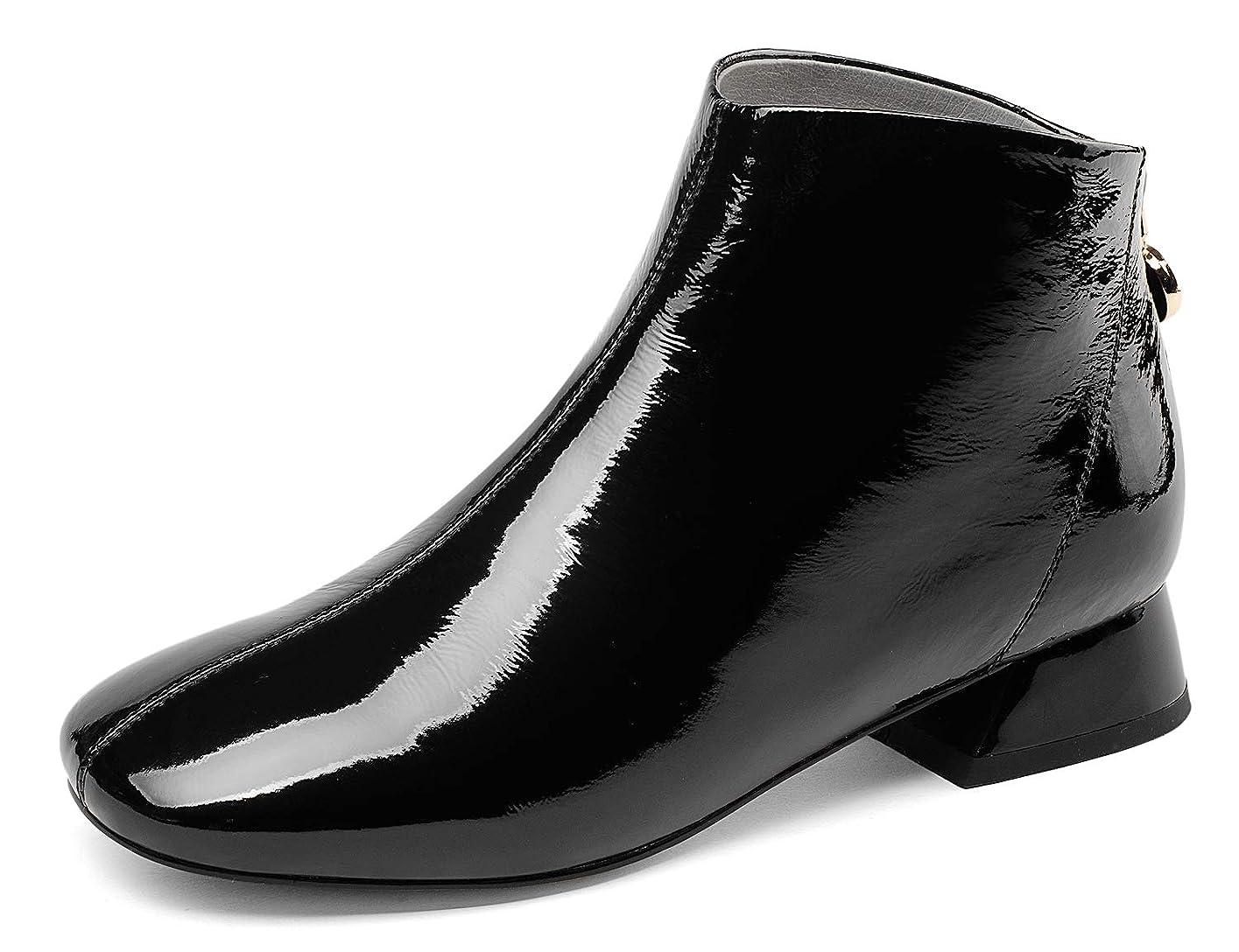 製造迷惑パリティ[チカル] CHICULL レディース エナメル ブーテー ブーツ ショートブーツ アンクルブーツ ブーティ バックジッパー 3cm 太ヒール 袴ブーツ 手造り シューズ 牛革 本革 レザー 秋冬 靴 カジュアル オフィス 通勤 大きいサイズ