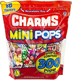 Charms Mini Pops 18 Assorted Flavors with Resealable Bag (300 Count)