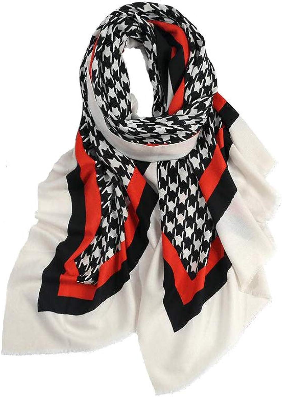 JUN Printed Scarf Female Winter Soft Wool Thin Shawl Dual Purpose