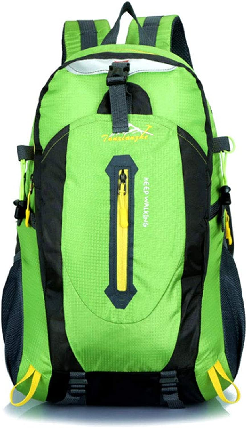 YangMi Backpack- Outdoor Mountaineering Bag Men and Women Shoulder Bag Waterproof Sports Bag 40L Leisure Travel Hiking Backpack (color   Green, Size   31x51x19cm)
