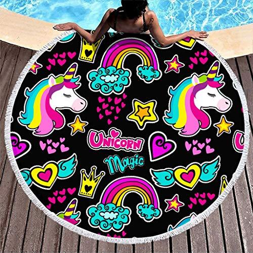 WT-DDJJK Toalla de Playa, Toalla de Playa Redonda Manta compacta niña niña Adolescente Adulto Viajero Blanco OneSize