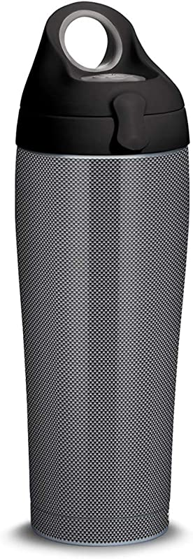 Tervis 1309332 Carbon Fiber Pattern Stainless Steel Insulated Tumbler With Black With Gray Lid 24oz Water Bottle Silver