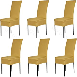 6X FLYPARTY Universal Stretch Spandex Removable Washable Short Dining Chair Cover Protector Seat Solid Slipcovers for Hotel,Dining Room,Ceremony,Wedding etc (Gold)