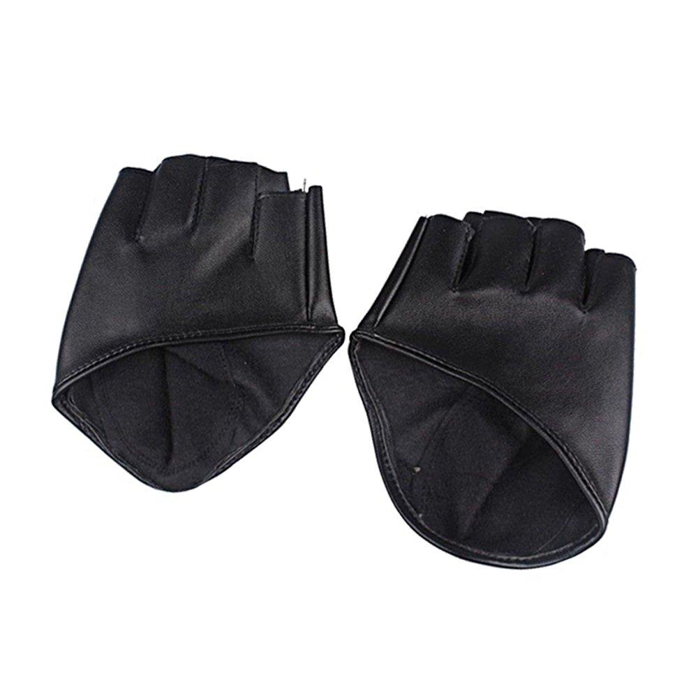 Fashion Ladies Women Half Finger Leather Driving Show Gloves (Black)