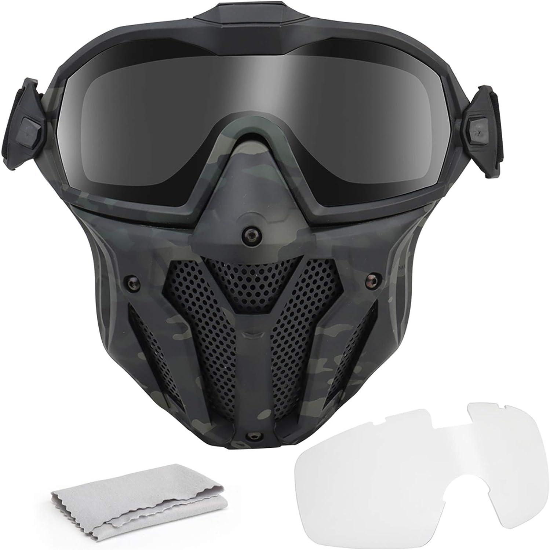WISEONUS Cráneo Máscaras Airsoft Táctico Caza CS Wargame Paintball Equipo Protector máscara Facial Completa con Ventilador versión Gafas enfriadoras