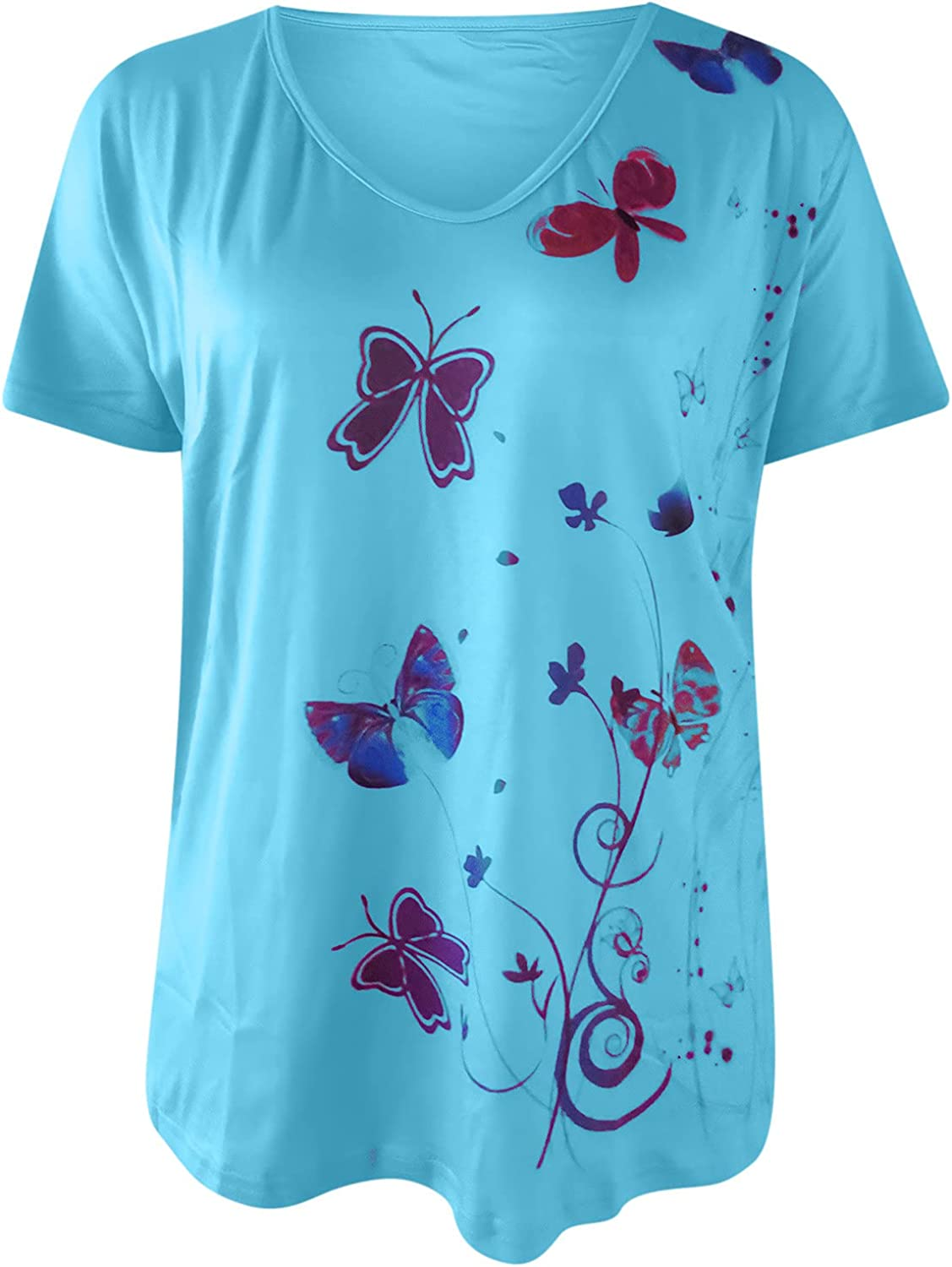 Women's Tops Summer Casual T Shirt V-Neck Blouse Butterfly Print Loose Tunic Fashion Short Sleeve