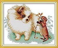 DIY刺繡クラフトキット大人11CTカウントクロスステッチキット-ポメラニアンとリス-初心者刺繡キット針仕事子供の誕生日ユニークなギフトキット家の壁の装飾、16X20インチ