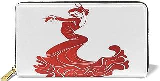 Women's Long Leather Card Holder Purse,Flamenco Dancer Sexy Performance European Folklore Ethnic Traditional Print,Elegant Clutch Wallet