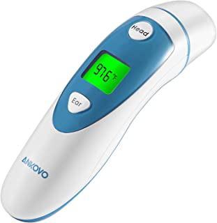 ANKOVO Thermometer for Fever Digital Medical Infrared Forehead and Ear Thermometer for Baby,Kids and Adults with Fever Indicator CE and FDA Approved