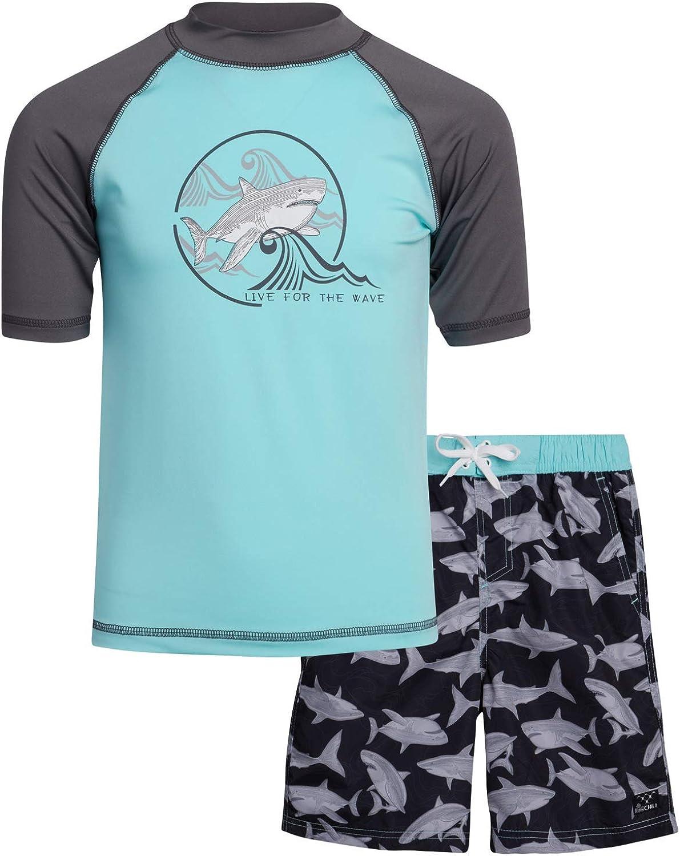 Big Chill Boys' 2-Piece UPF 50+ Short Sleeve Rashguard Shirt and Board Short Set