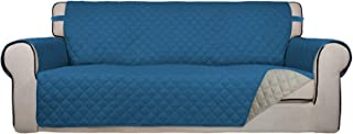 Best PureFit Reversible Quilted Sofa Cover, Water Resistant Slipcover Furniture Protector, Washable Couch Cover with Non Slip Foam and Elastic Straps for Kids, Pets (Oversized Sofa, Peacock Blue/Beige) Review