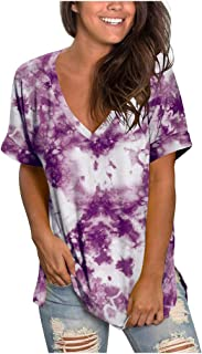 Allywit Plus Size Womens Fashion Gradient Color V-Neck Tie-dye Short Sleeve T-shirt Tops Blouse Loose Fit Tunic Tops
