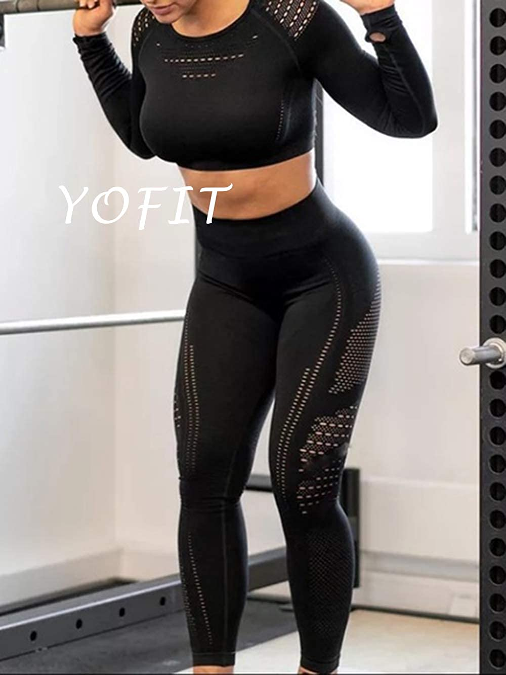 YOFIT Womens Workout Outfit 2 Pieces Seamless High Waist Yoga Leggings with Long Sleeve Crop Top Gym Clothes Set