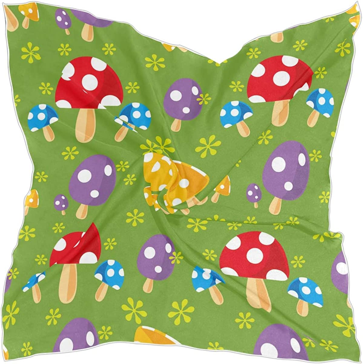 24inch Women's Square Silk Seamless Mushroom Pattern Hair Scarves and Wraps Headscarf for Gift(pm)