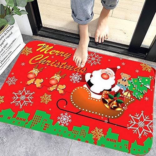 WELLXUNK® Navidad Antideslizante Felpudo, Alfombras de Decoración de Navidad Antideslizante y Absorbente, Alfombrillas Decorativas para el Salón el Baño la Cocina, Welcome Felpudo de Puerta (M7)