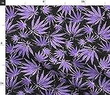 Spoonflower Stoff – Blatt lila Punkte Marihuana Cannabis