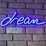Yinuoday Dream Letreros de Neón Sueño Distintivo LED Luz de Neón Arte Pared Lámpara de Noche Fiesta en Casa Boda Luz Decorativa