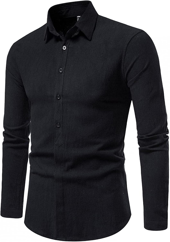 Burband Mens Classic Button Down Cotton Dress Shirts Long Sleeve Regular Fit Big and Tall Western Oxford Shirts M-5XL