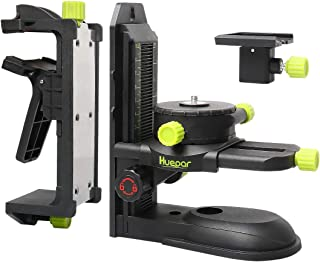 """Huepar Fine-tuning Bracket Laser Level Adapter, Multifunctional Magnetic Pivoting Base with Adjustable Clip, 360° Adjustable Support with 1/4""""-20 Male Threaded, Height Adjustment - PV10+"""