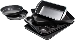 Bakeware Set, TOPTIER 6 Piece Nonstick Baking Pan Sets with Cookie Baking Sheets, Muffin Pan, Loaf Pan, Round Cake Pan, Roasting Pan for Professional Baking, Prime Housewarming and Wedding Gift, Black