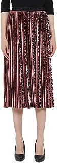 Charis Allure Women's Velvet Velour Midi Skirt Metallic Shiny A Line Pleated Swing Skirt