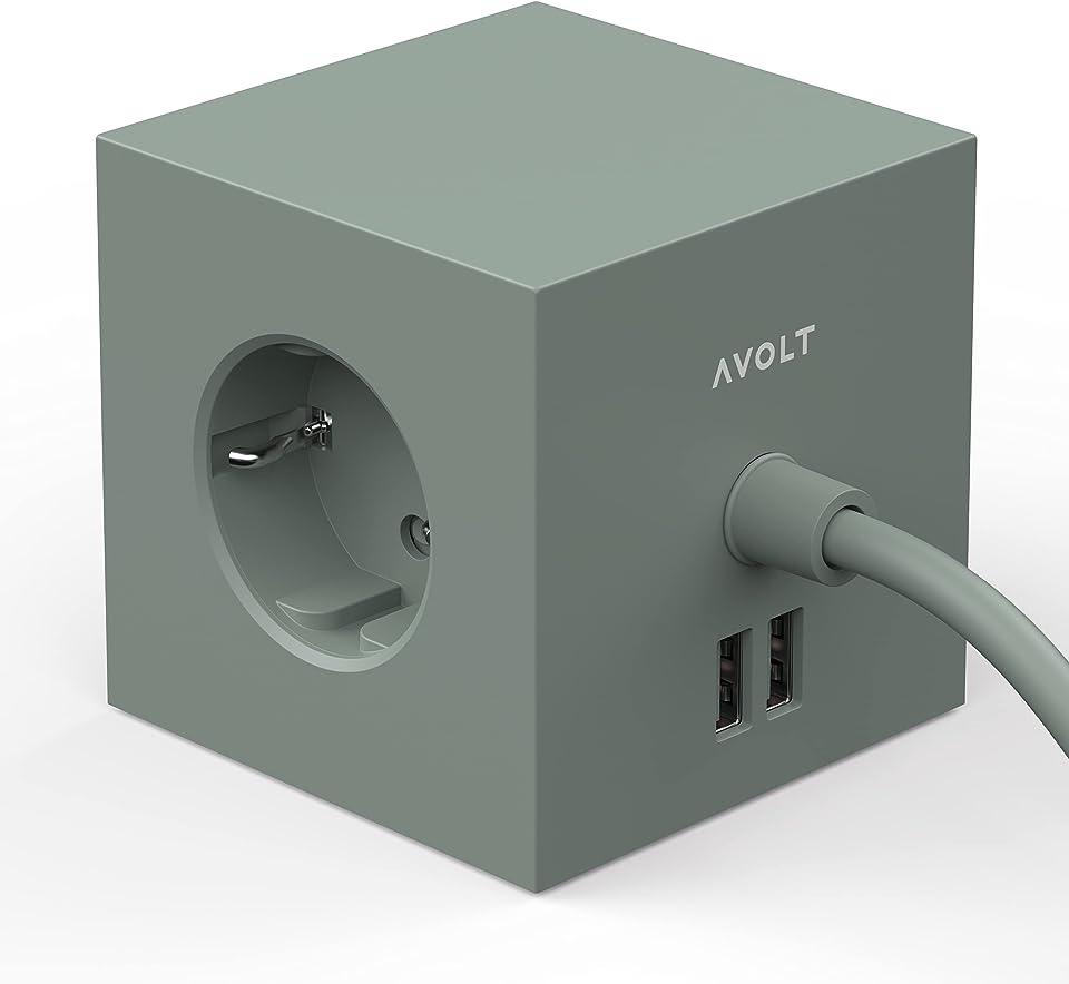 Avolt Mehrfachsteckdose Cube - Würfel mit 3 Steckdosen und 2 USB-Anschlüssen - Design-Ladegerät mit 1,8 m Verlängerungskabel - Kompakt - Grun