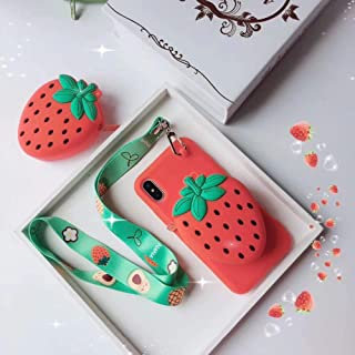 9Guu 3D Lovely Avocado Pineapple Strawberry Wallet Silicon Phone Case for iPhone Xs Max Case for iPhone X XS XR 7 8 7 Plus 8 Plus Cover Retro Capa (Red, for iPhone 7 8)