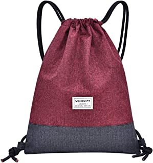 Wultia - Women Beach Bag Outdoor Fitness Sport Bag Bundle Pocket Unisex Drawstring Bag sac fe dos Femme Wine
