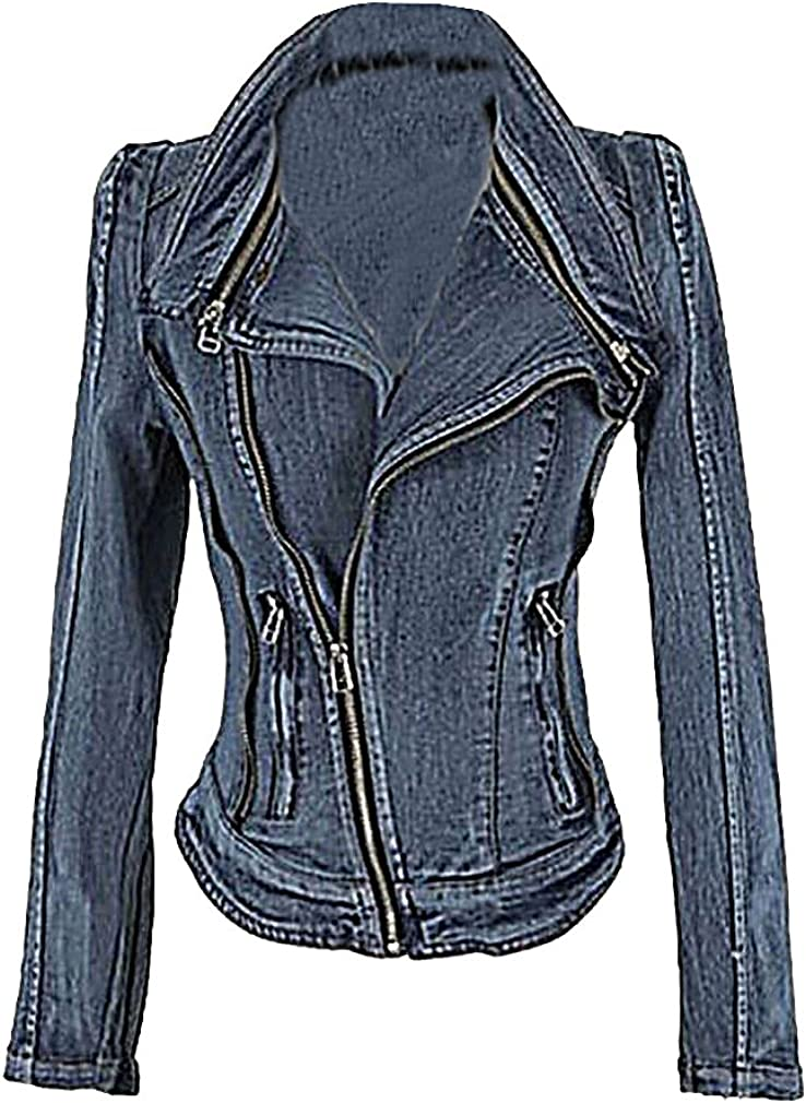 USR Women's Short Branded goods Zipped Fitted Spring Fash Autumn Denim Weekly update Jacket