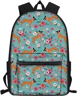 FUIBENG Back to School Large Backpack Cartoon Belgian Malinois Flower Design Water-repellent Daypack for Teen Girls Boys
