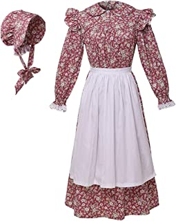 GRACEART Victoria's Maid Criada Costume Cosplay Set Pioneer Colonial Dress Prairie Puro algodón