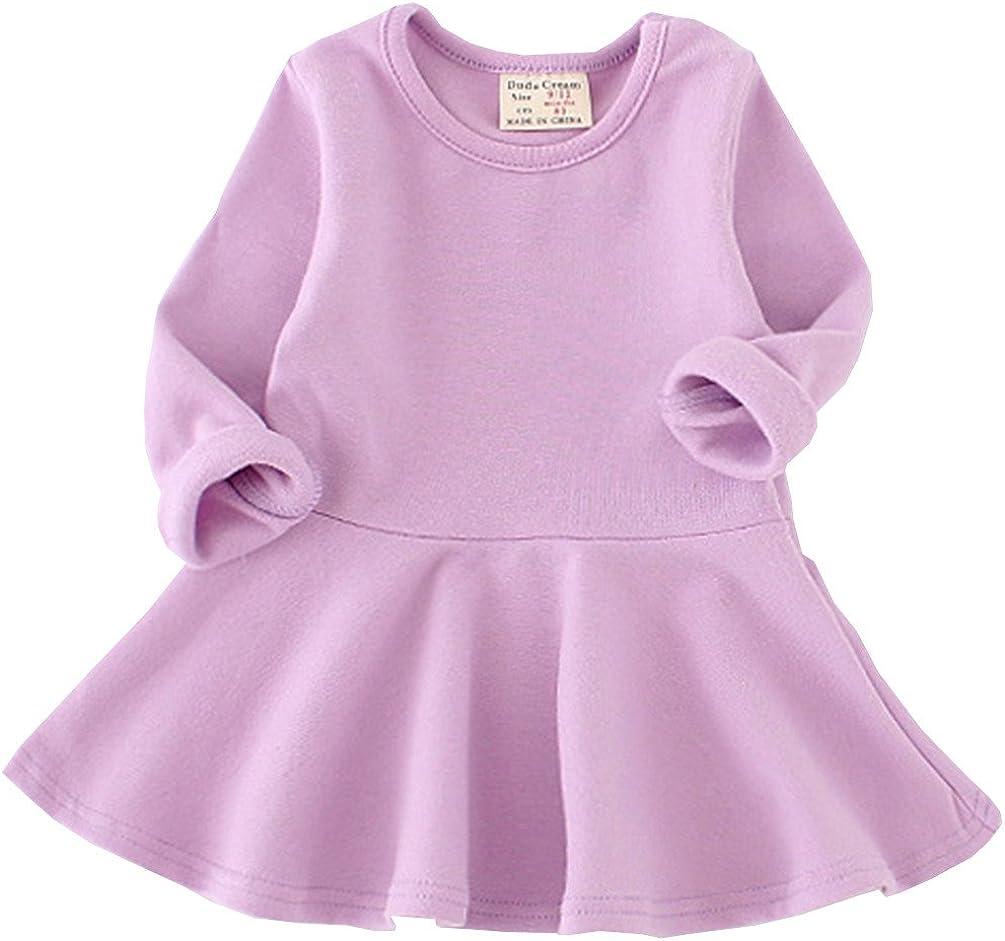 Csbks Toddler Baby Girls Long Sleeve Dress Ruffle Solid half Gorgeous T Cotton