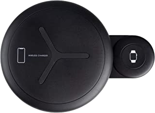 Dual Wireless Charger for Cell Phones and Smart Watches, Fast-Charging Station (Black)