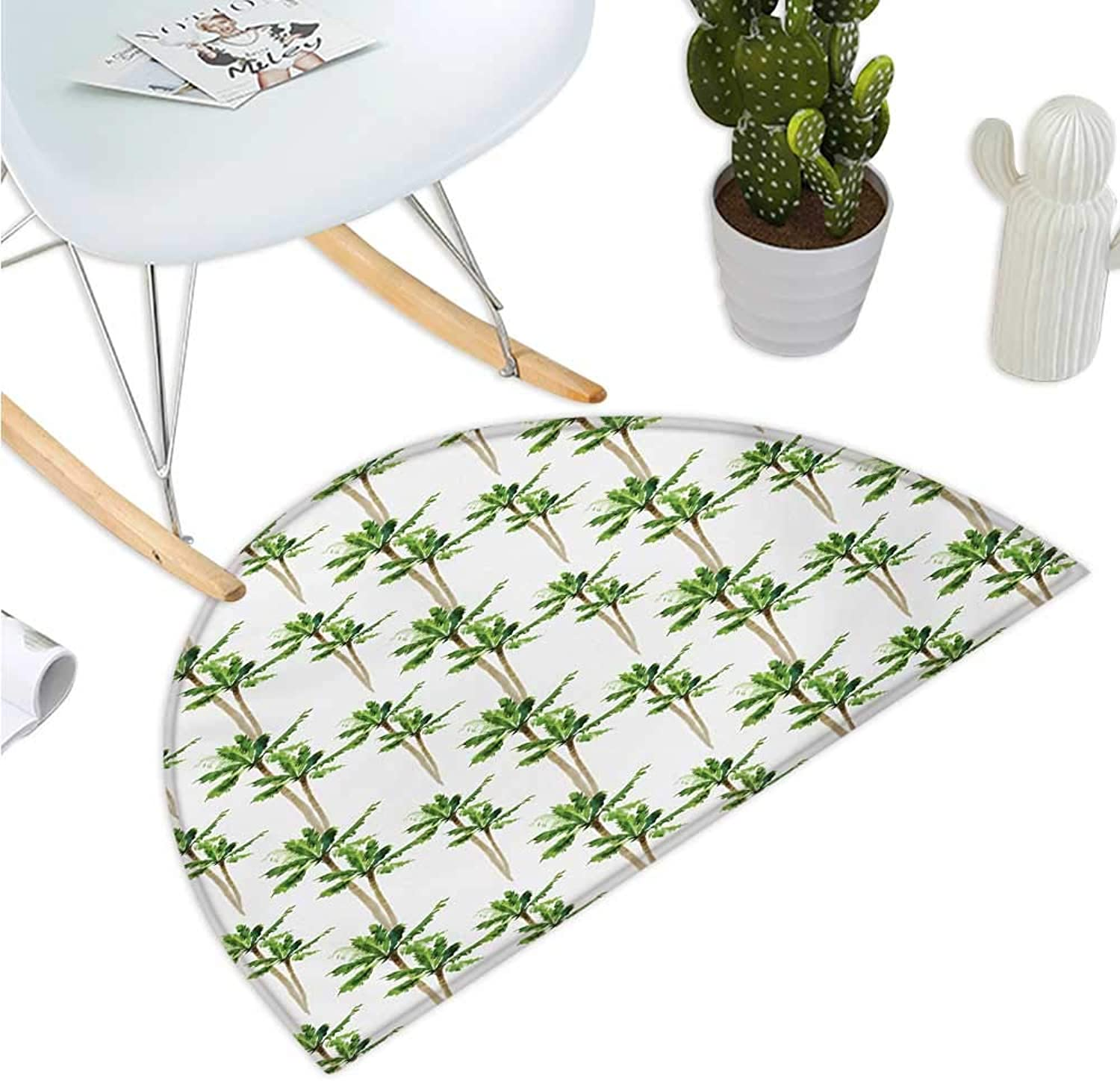 Palm Tree Semicircular Cushion Watercolor Style Forest Pattern of Coconut Trees Lush Growth Ecology Entry Door Mat H 51.1  xD 76.7  Green Cocoa and White
