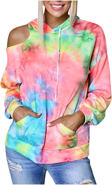 Ladies Fashion Crewneck Pullover Tops for Women's Tie-Dye Printed Off-Shoulder Long Sleeve Pocket Hooded Sweatshirt