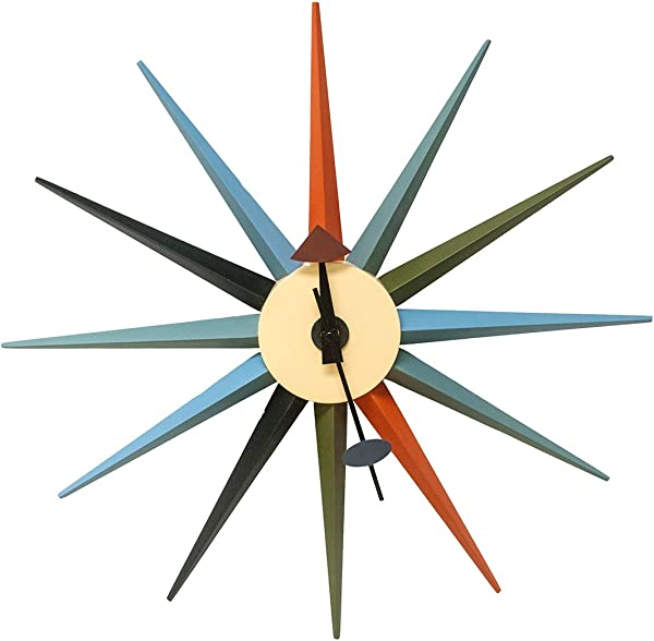 Mod Made Mid Century Modern Star Wall Clock Metal