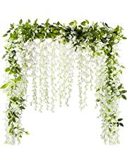 VINFUTUR 2x7FT Wisteria Kunstbloemen Wisteria Wijnstok Garland Planten voor Tuin Thuis Outdoor Decoratie