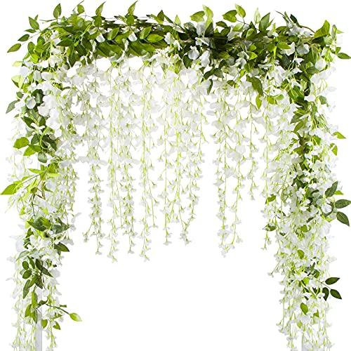 VINFUTUR 2pcs×2m Flores Artificiales Colgantes Wisteria, Guirnalda Flores Artificiales Enredaderas Glicina Vid Plantas Artificiales para Decoración Boda Exterior Interior