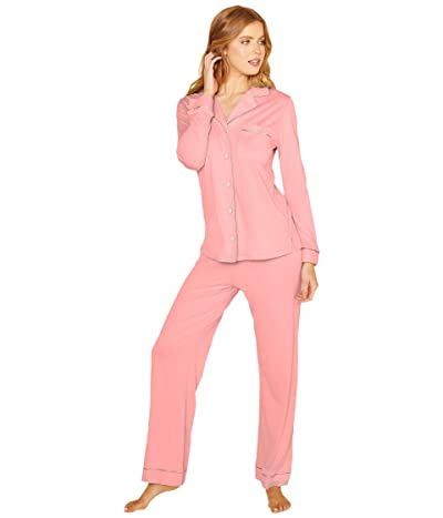 Cosabella Bella Long Sleeve Top Pants PJ Set (Quartz Pink/Evening Pink) Women