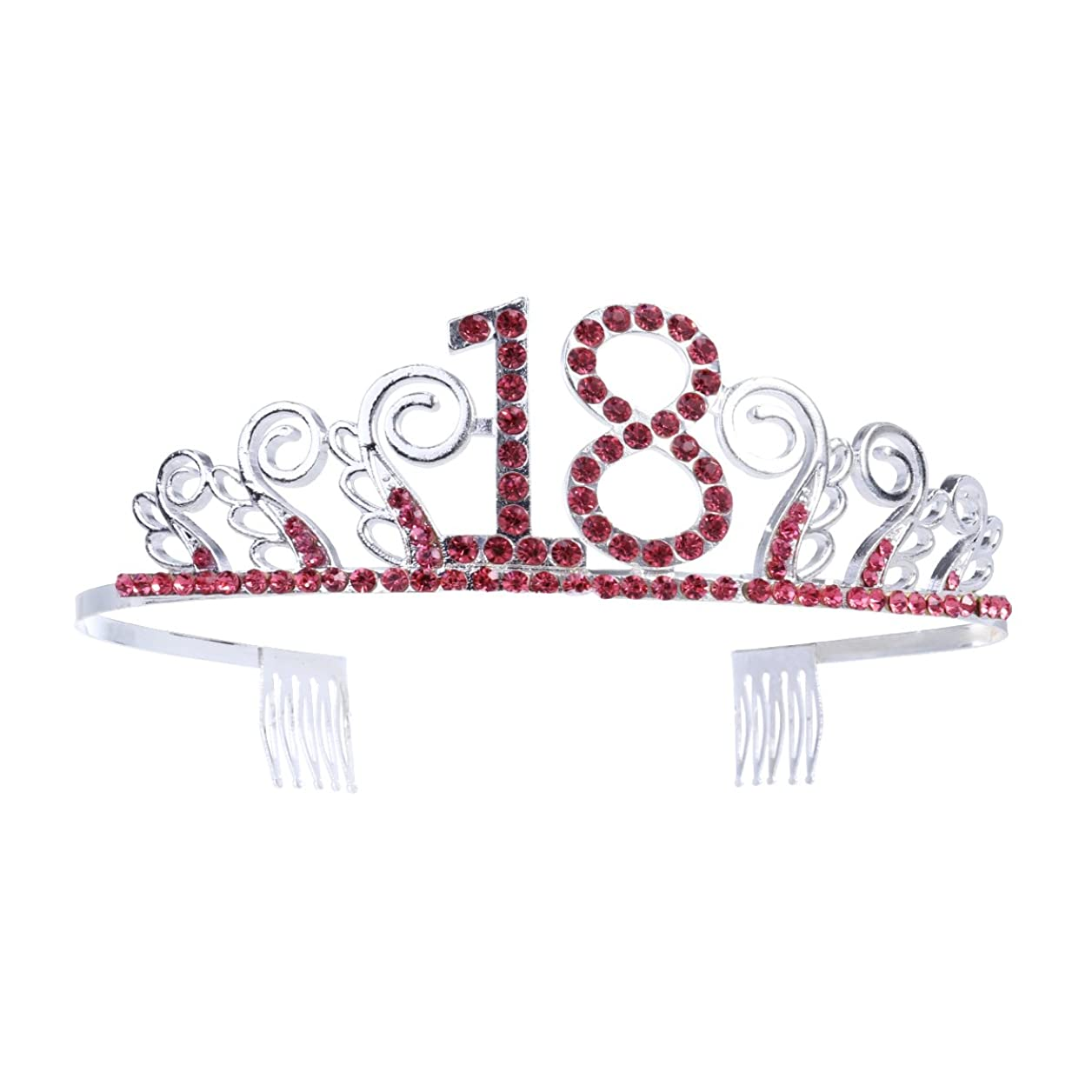 回転ランダム噴出するBeaupretty クリスタルラインストーンガールズ18歳の誕生日ティアラプリンセスクラウンと髪の櫛18歳の誕生日結婚記念日の彼女への贈り物(シルバーレッド)