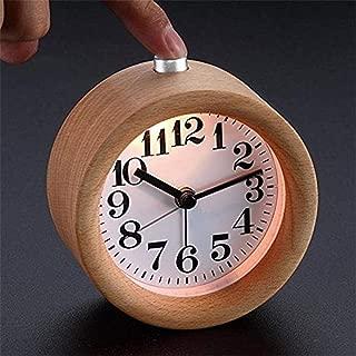 ANCLOK Handmade Classic Small Round Wood Silent Desk Alarm Clock con Lámpara De Escritorio para El Hogar