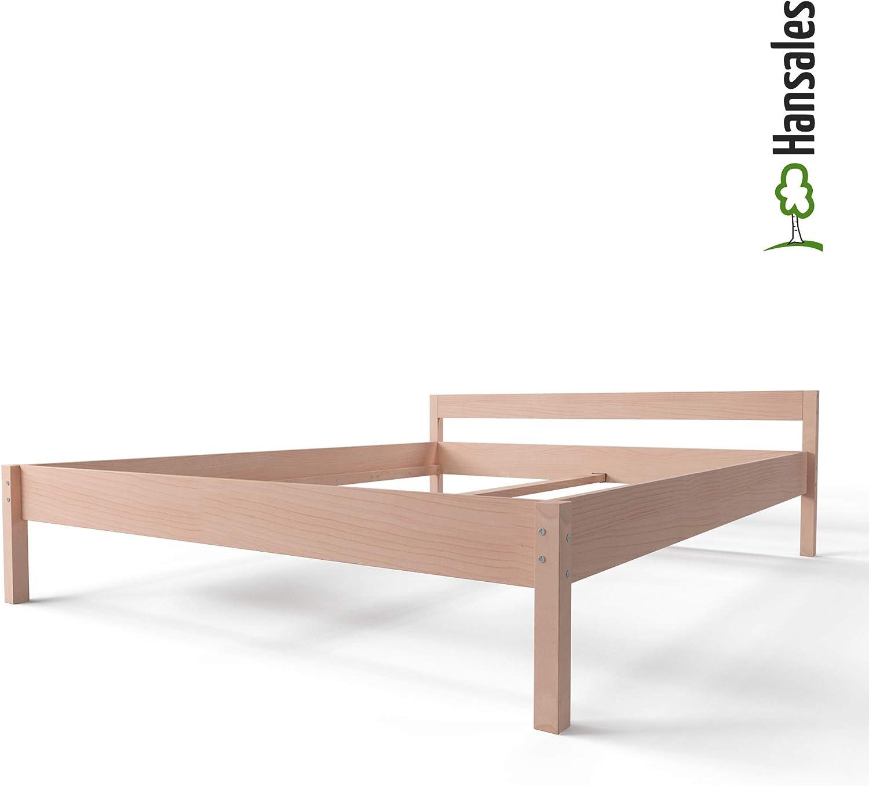 Cama Alta de Madera 200x200 cm - hasta 350 kg - Bastidor de Cama de Madera Maciza de Abedul sin Tratar Natural Robusta con Certificación FSC - Cama ...