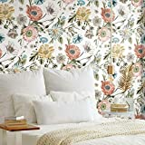 RoomMates RMK11659RL Vintage Poppy White and Pink Peel and Stick Wallpaper