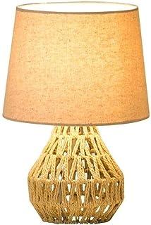SMEJS Lámpara de Mesa de cáñamo Vintage Personalidad Creativa Lámpara de mesita de Noche Lámpara Industrial Americana Bar ...