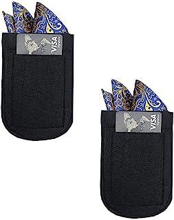 CAREOR 2 tasche tasca quadrata per uomo e portacarte, microfibra nera con chiusura elastica giacche fazzoletto tasca tasca...