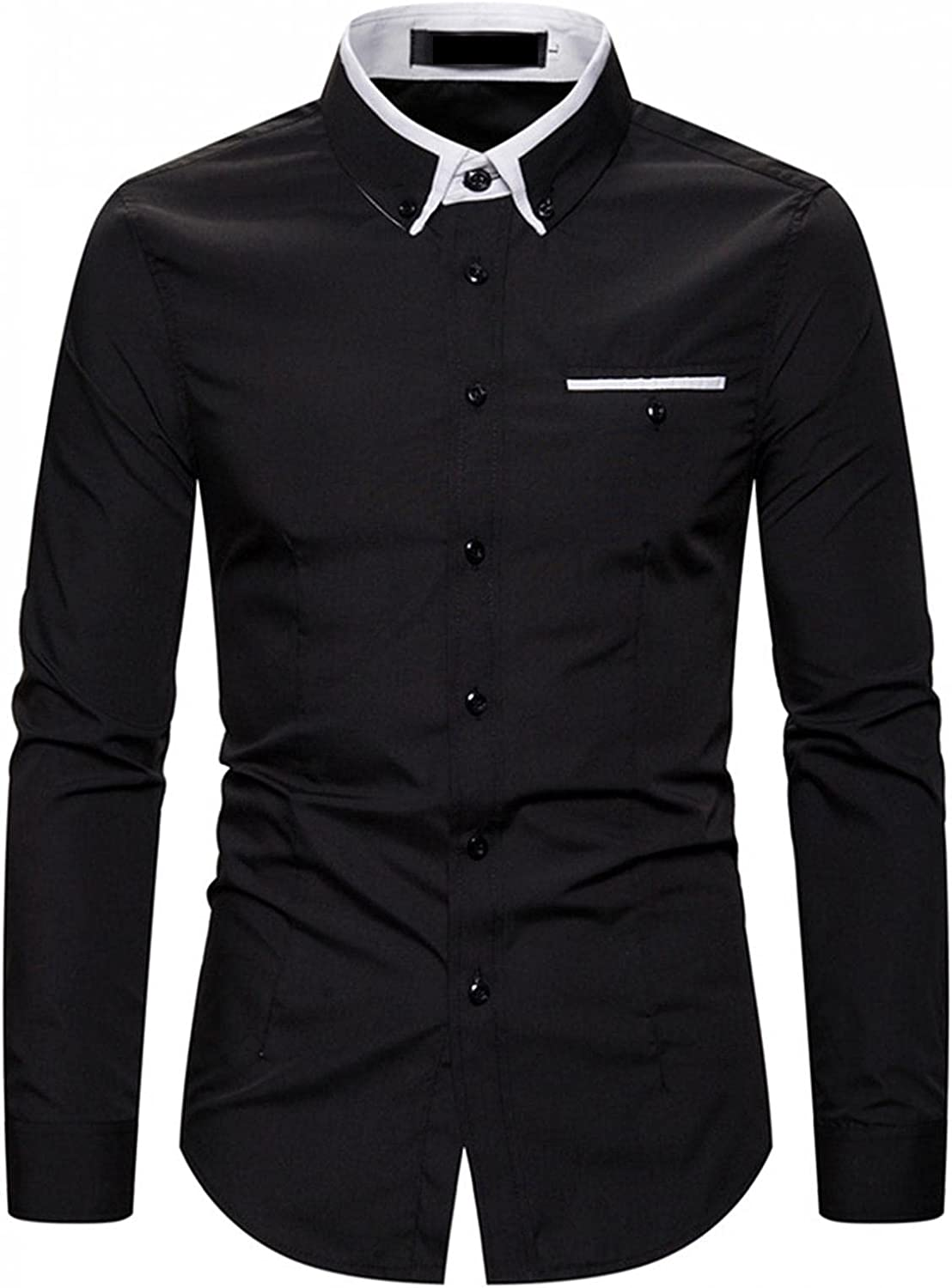 Men's Business Work Dress Shirt Slim Fit Turndown Collar Long Sleeve Casual Solid Color Shirt Top Blouse