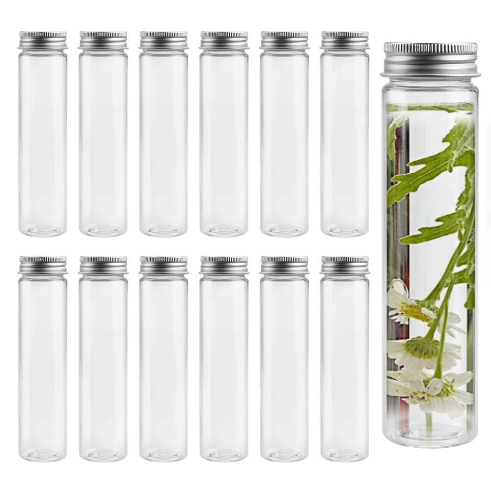 LYTIVAGEN 12 PCS Tubos de Ensayo Plástico con Tapa de Aluminio Tarro de Plástico sin BPA Botella de Ensayo de Prueba para Cosméticos, Dulces, Caramelos, Perlas (Transparente, 100ml)