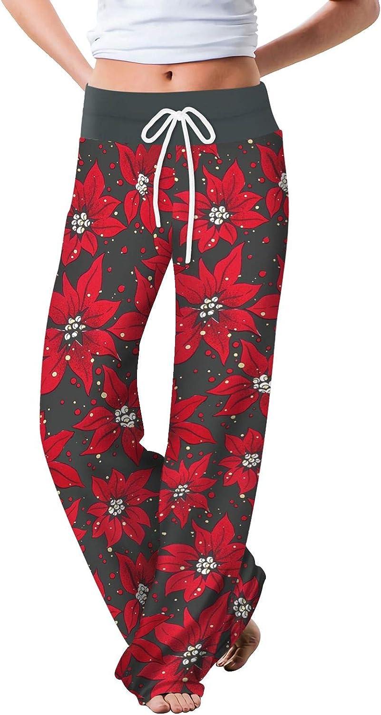 Women's Patterned Print High Waisted Drawstring Tie Elastic Waist Long Sweatpants Wide Leg Lounge Trousers